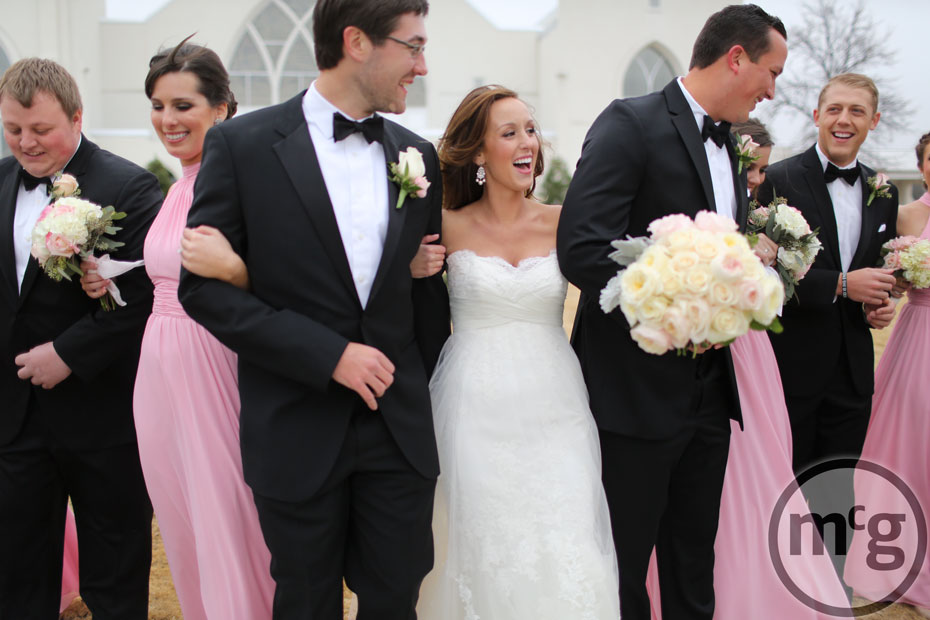 Bridal party pink bridesmaid dresses, black tuxes