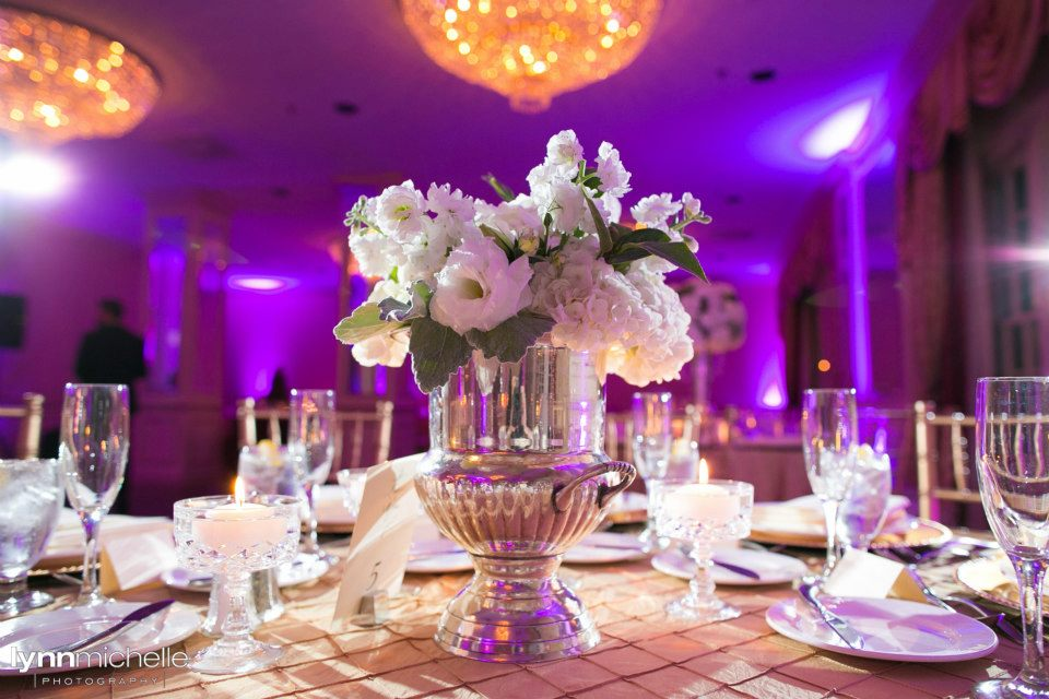 Melrose Hotel Wedding Reception White Centerpiece