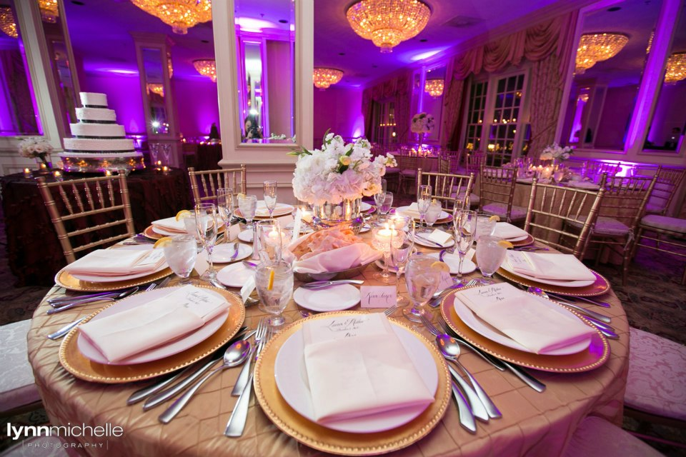 Melrose Hotel Wedding Reception Purple Uplighting