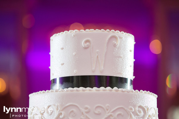 Monogram Wedding Cake Black Ribbon