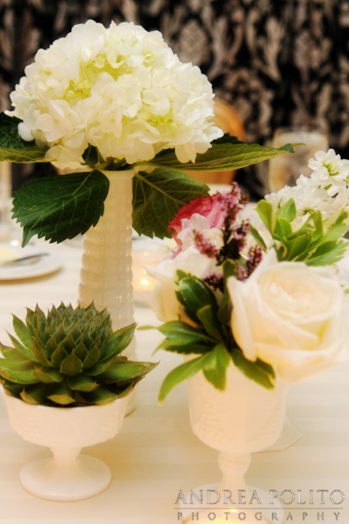 Milk Glass White Pink Succulent Wedding Tablescape