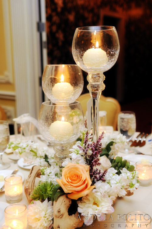 Wedding Candle Orange Mercury Glass Centerpiece