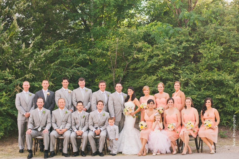 Bridal Party Short Peach Bridesmaids Dresses Gray Suits