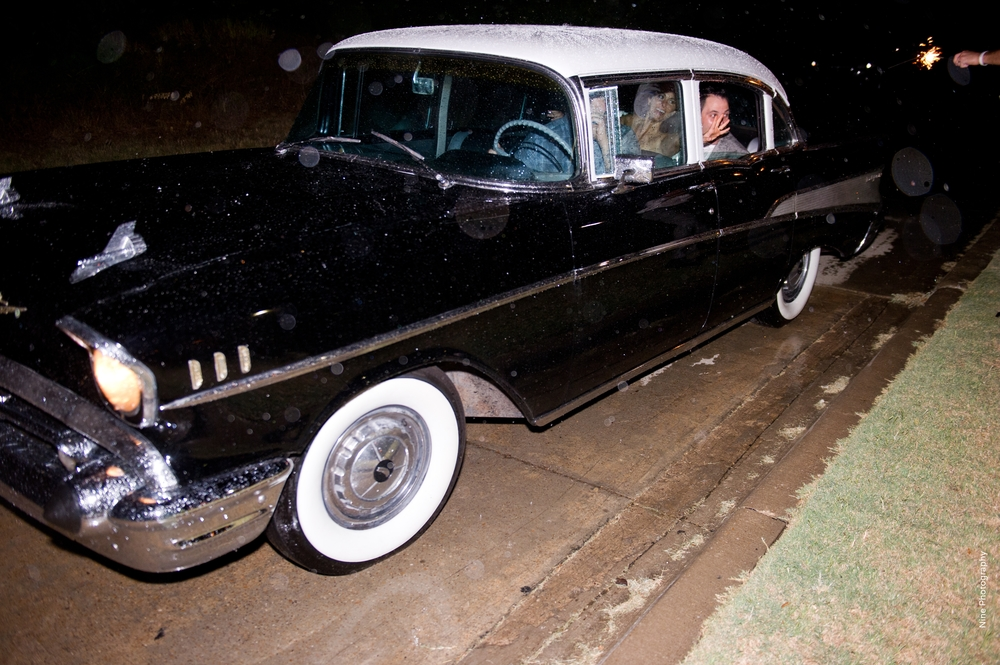 Vintage Black Wedding Getaway Car