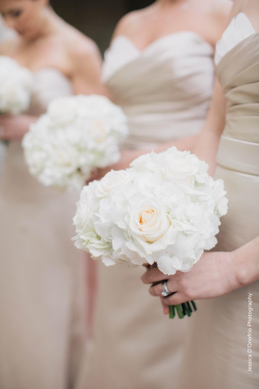 Champagne Bridesmaid Dresses White Bouquets
