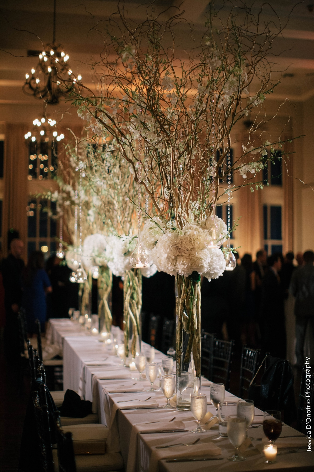 Room on Main Head Table Tall Branch Centerpieces