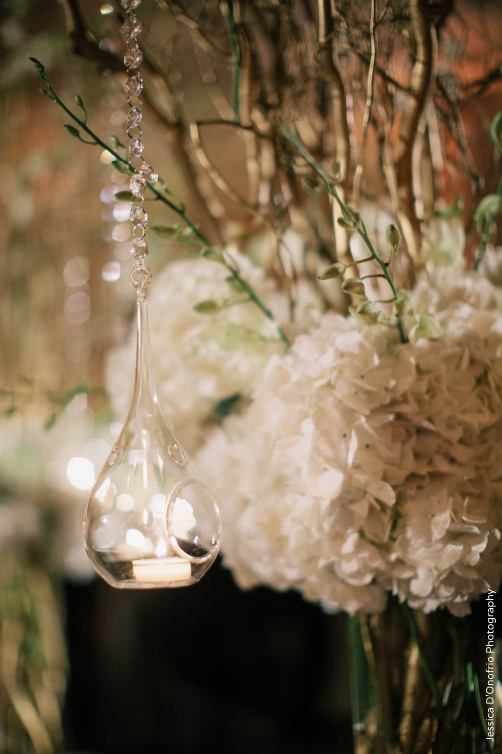 Glass Teardrop Candle White Branch Wedding Centerpiece