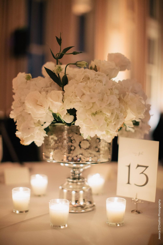 White Wedding Mercury Glass Centerpiece