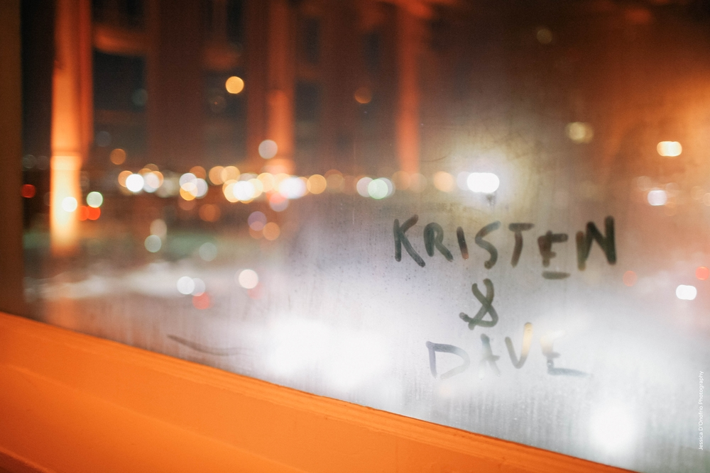 Bride & Groom's Names Written on Window