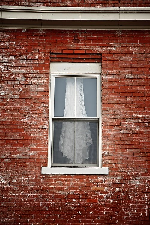 Wedding Gown in Filter Building Window