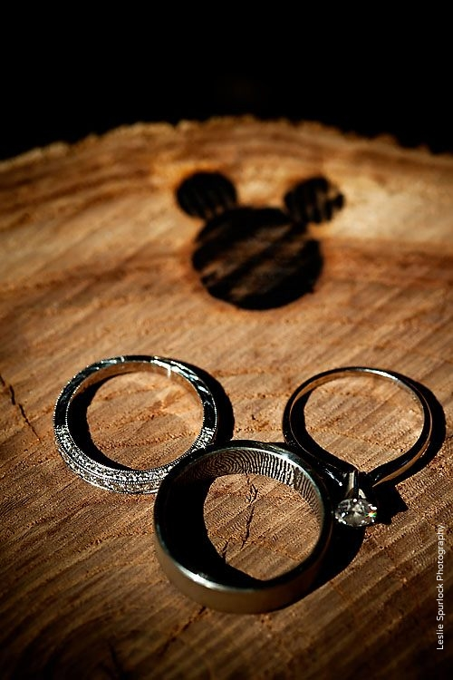 Wood-Burned Mickey Mouse Wedding Ring Shot