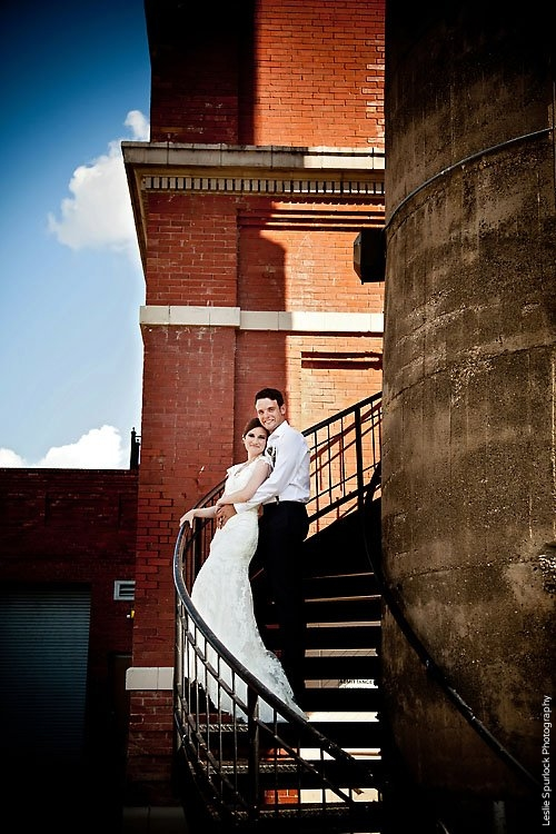 Bride & Groom on Stairs