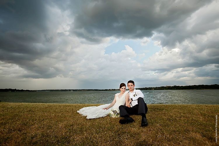 Stormy Bride & Groom Wedding Portrait White Rock Lake