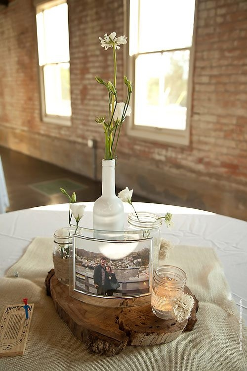 Rustic Wine Bottle Wedding Centerpiece