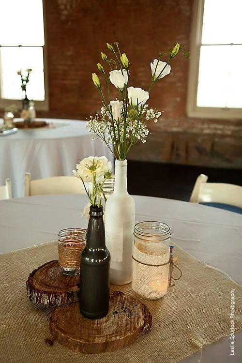 Rustic Wine Beer Bottle Candle Wedding Centerpiece