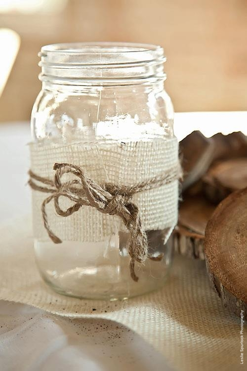 Mason Jar Burlap Twine Wedding Centerpiece