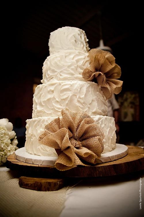 Messy Buttercream Wedding Cake Burlap Flowers