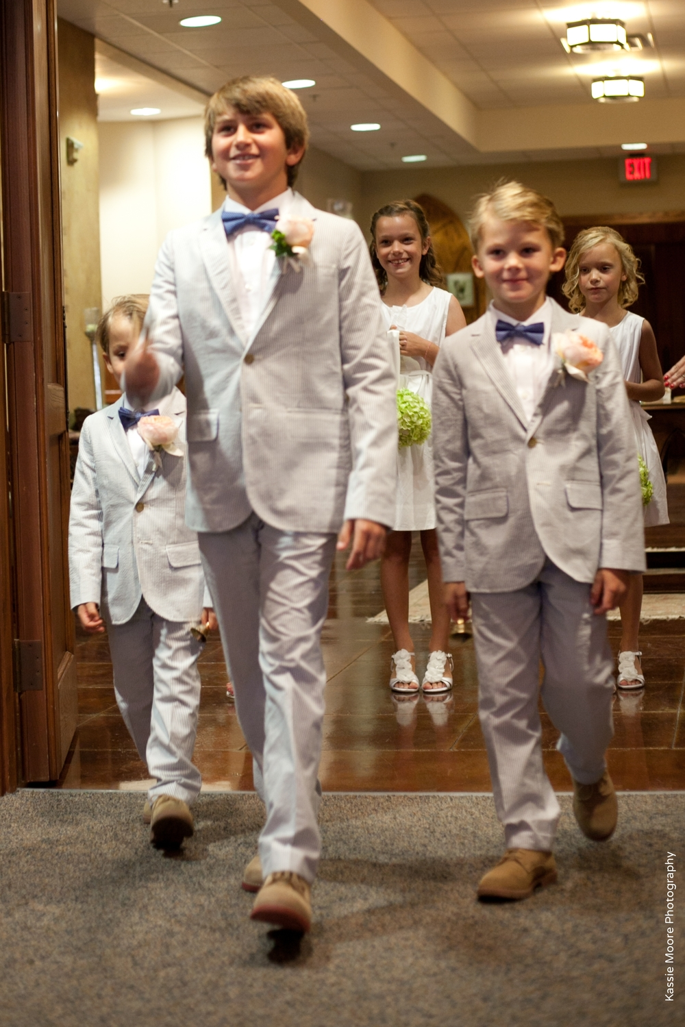 Seer Sucker Ringbearers Wedding Processional