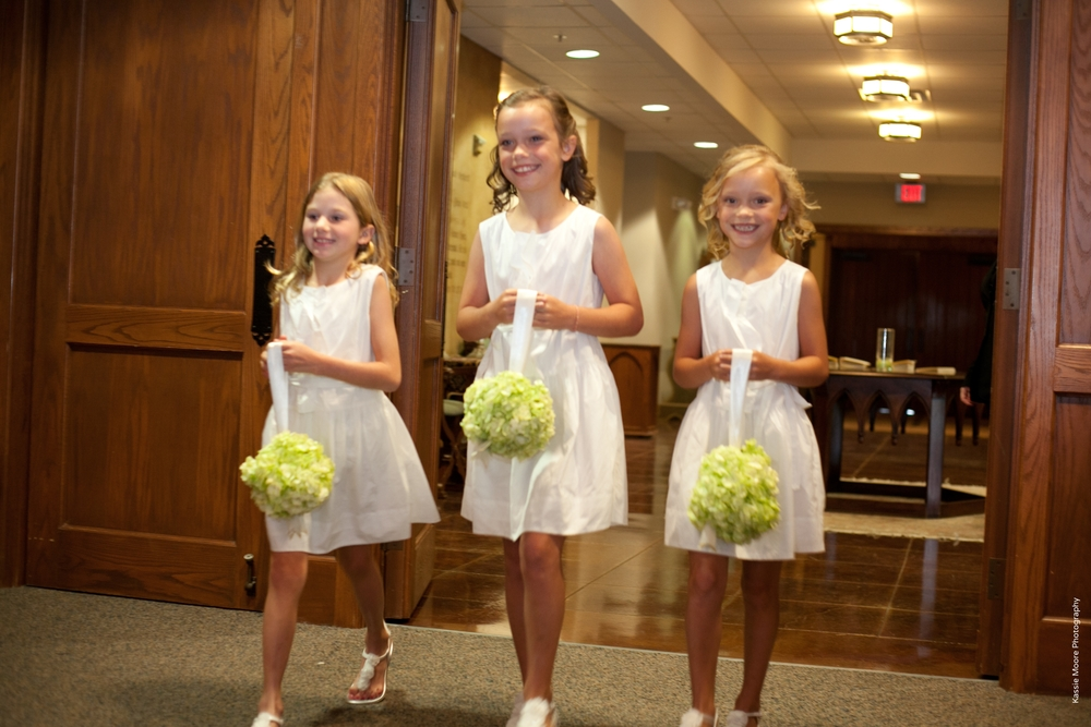 Flower Girls Wedding Processional Green Pomanders