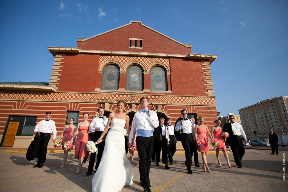 Bridal Party Outside Ashton Depot Fort Worth, TX