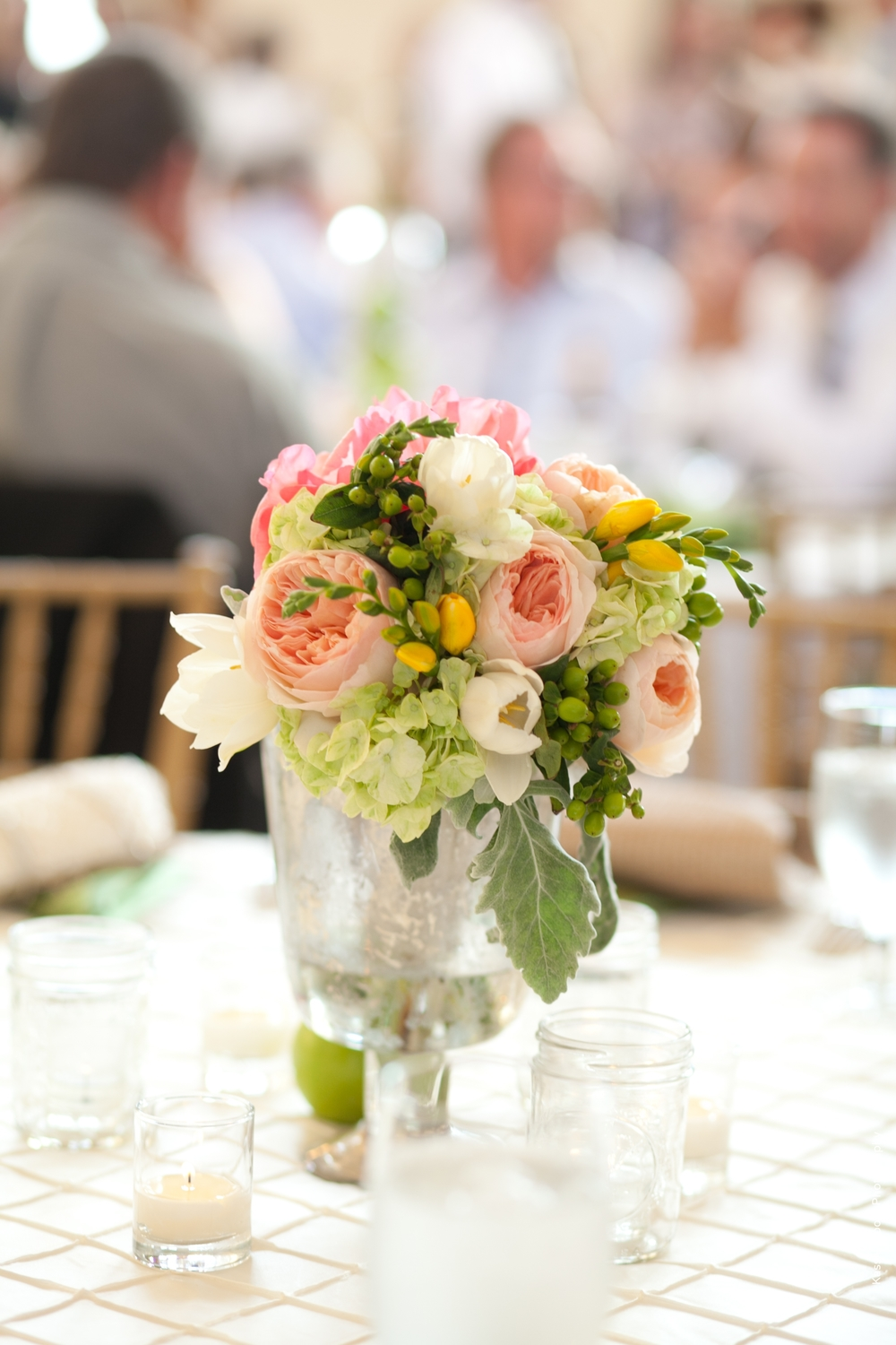 Peach Green Ivory Wedding Centerpiece