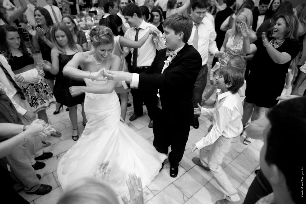 Bride & Groom Dancing to Band