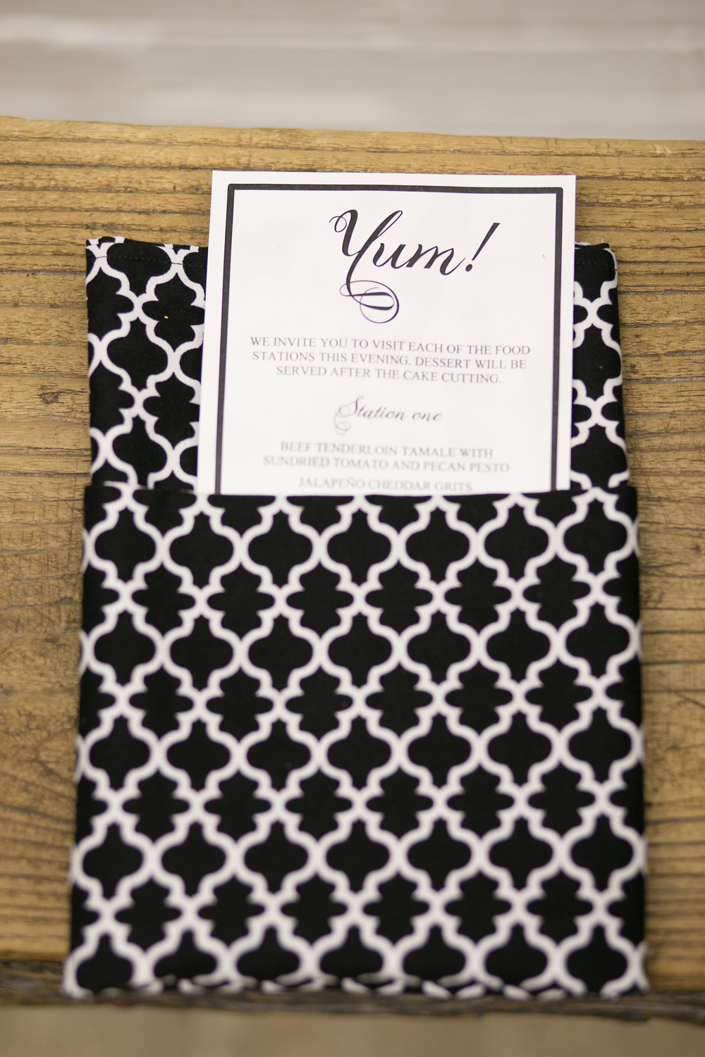 Black White Quatrefoil Linen Napkin Wedding Menu