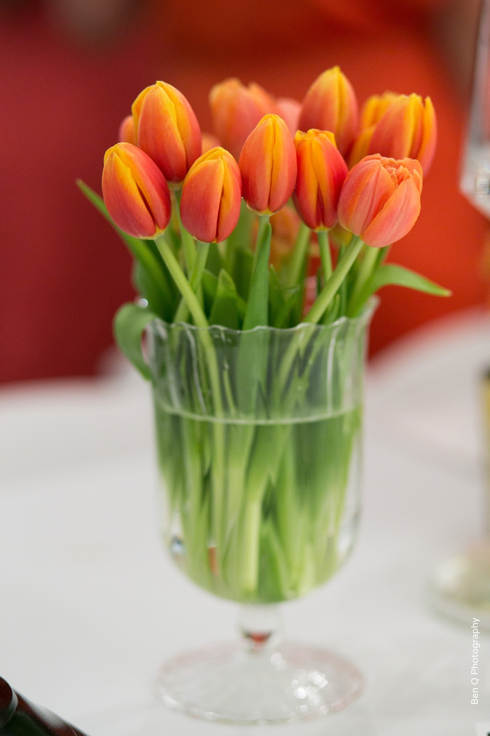 Pink and orange tulips wedding arrangement