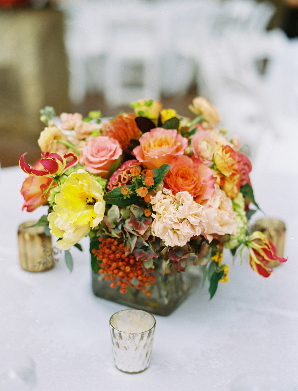 Coral Fuschia Peach Yellow Wedding Centerpiece