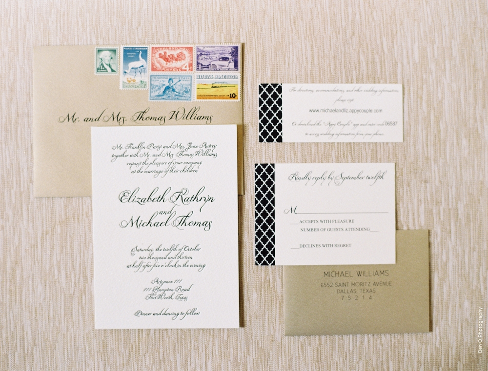 Black White Gold Quatrefoil Wedding Invitation Suite