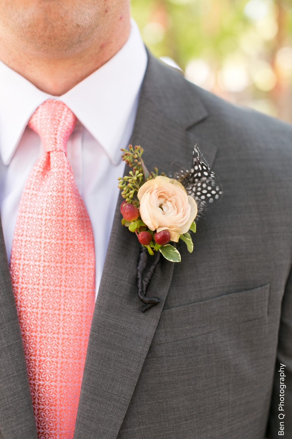 Groom Gray Suit Coral Tie Peach Bout Berries Feathers
