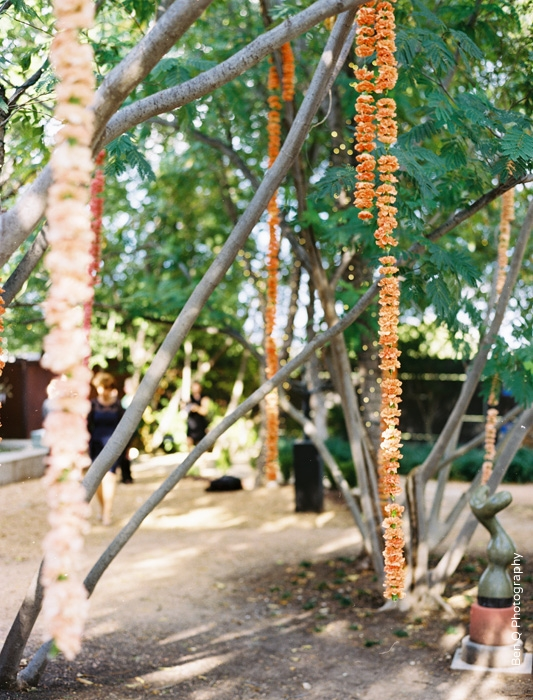Wedding Ceremony Flower Garlands in trees