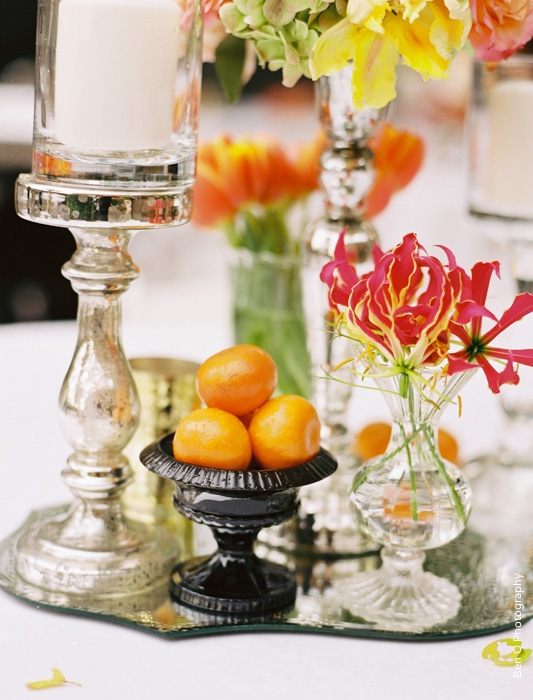 Mercury Glass Candle Fuschia Mandarin Oranges Wedding Tablescape