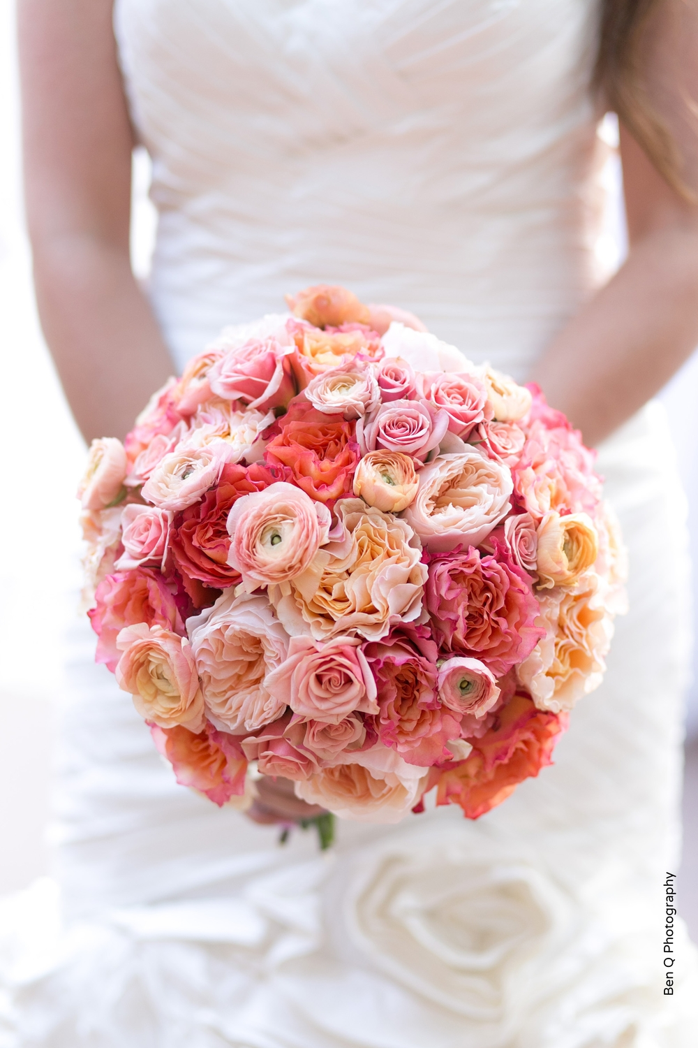 Pink Peach Coral Orange Bridal Bouquet