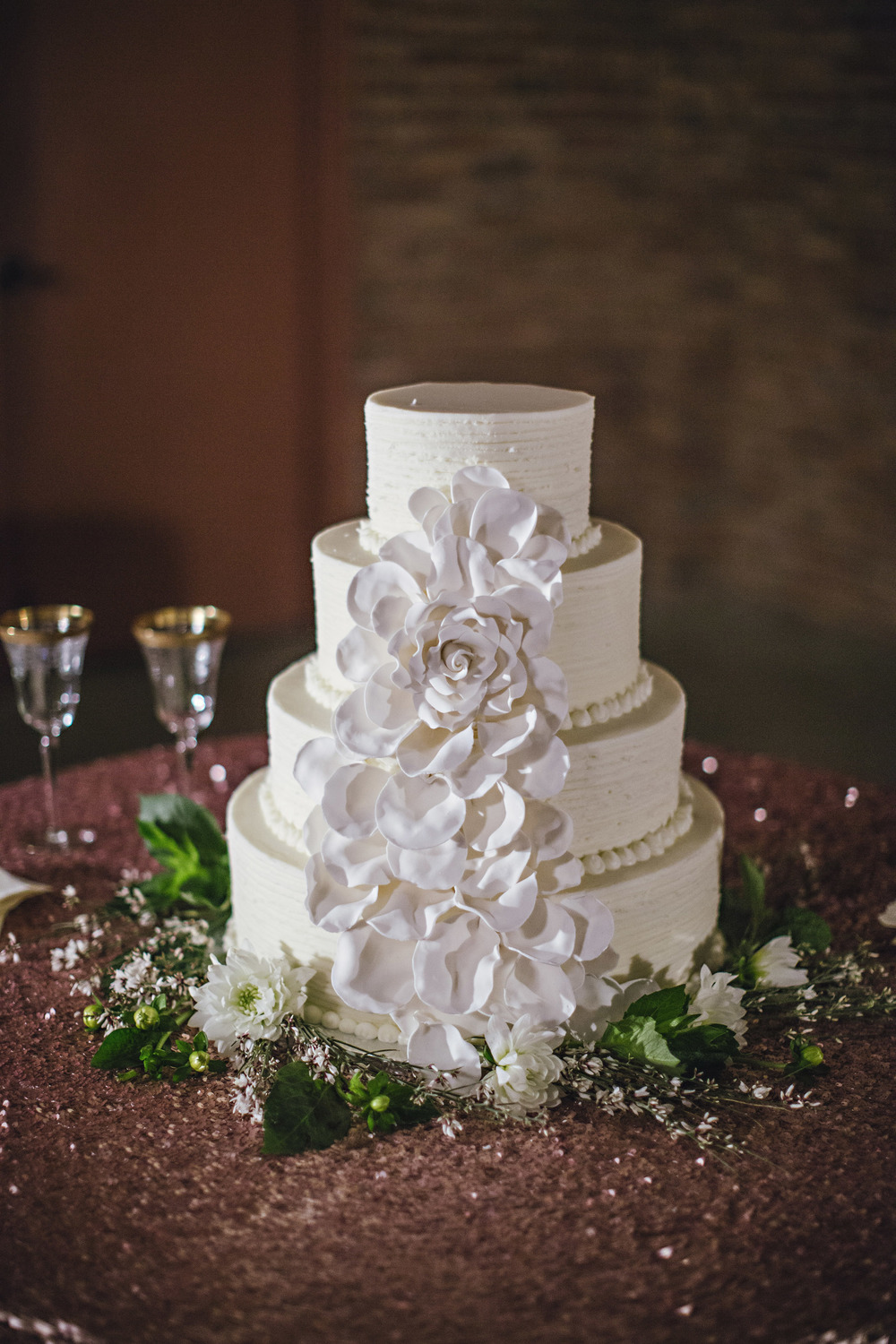 White Wedding Cake Large Petal Sugar Flowers