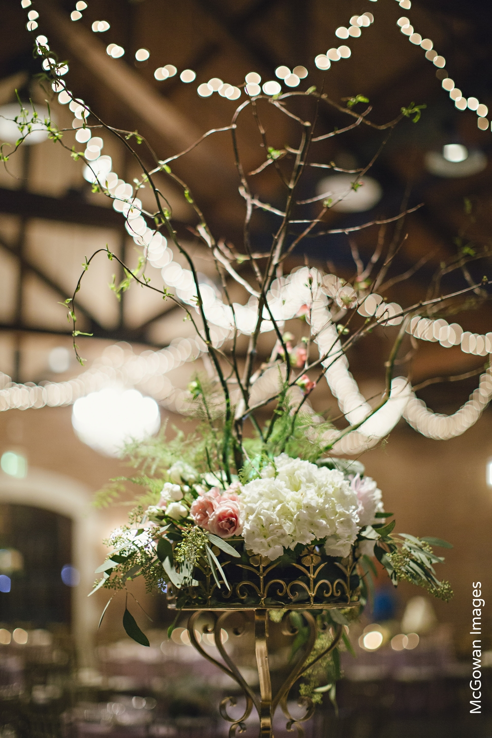 Cafe Lights Branch Wedding Centerpiece
