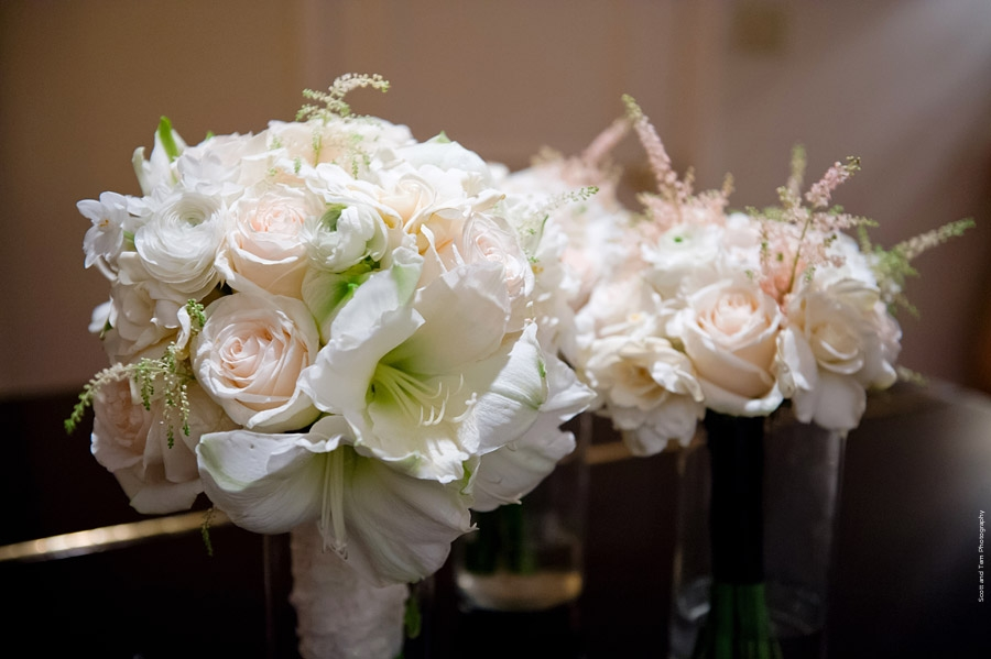 White Blush Bridal Bridesmaids Bouquets from A Stylish Soiree