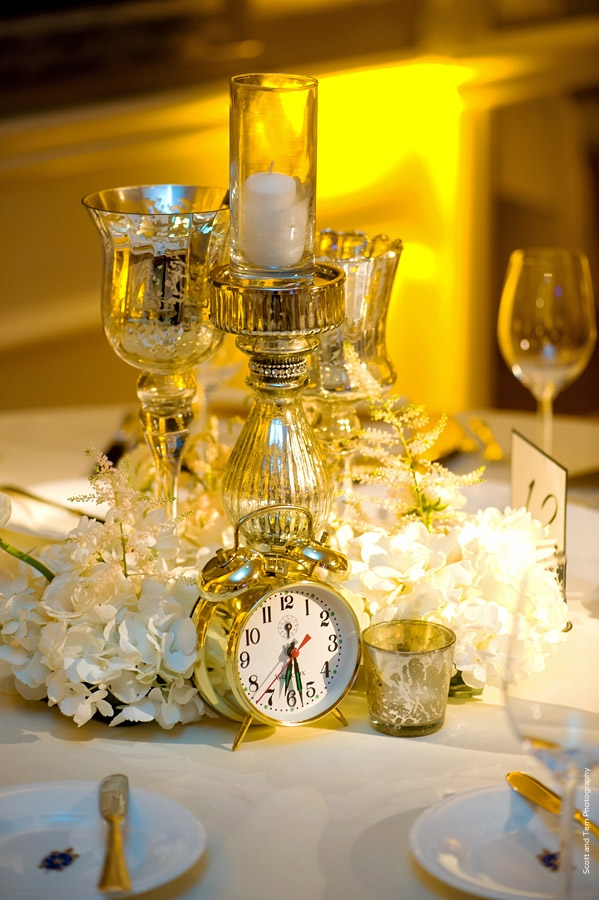 Mercury Glass Candles Gold Clock New Years Eve Wedding