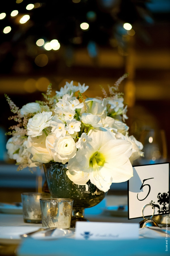 White Wedding Centerpiece Black White Table Number