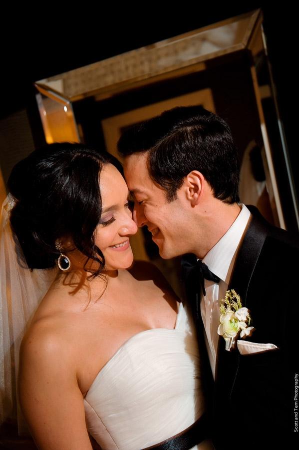 Romantic Bride & Groom Black Sash White Bout