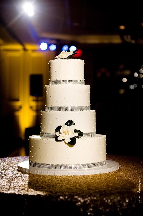 Gold Sequin Wedding Cake Table Rhinestone Ribbon