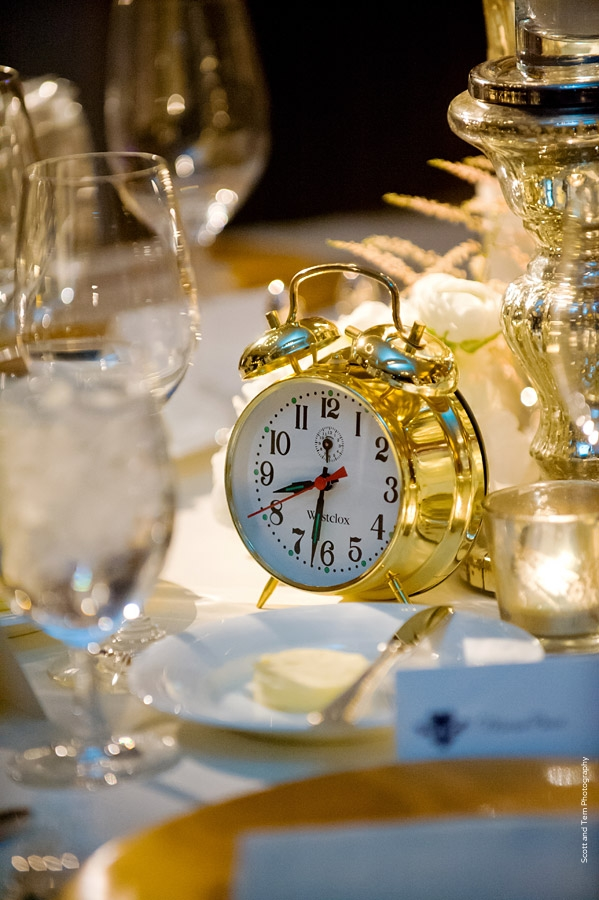 NYE Wedding Gold Clock; Mercury Glass; Candles