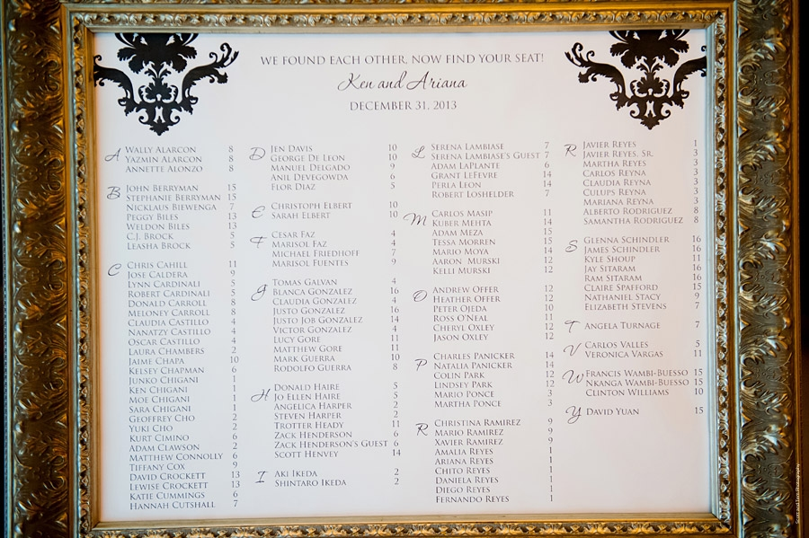 Black and wedding seating chart Altar Ego Paperie