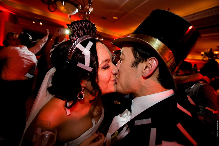 New Years Eve Wedding Midnight Kiss