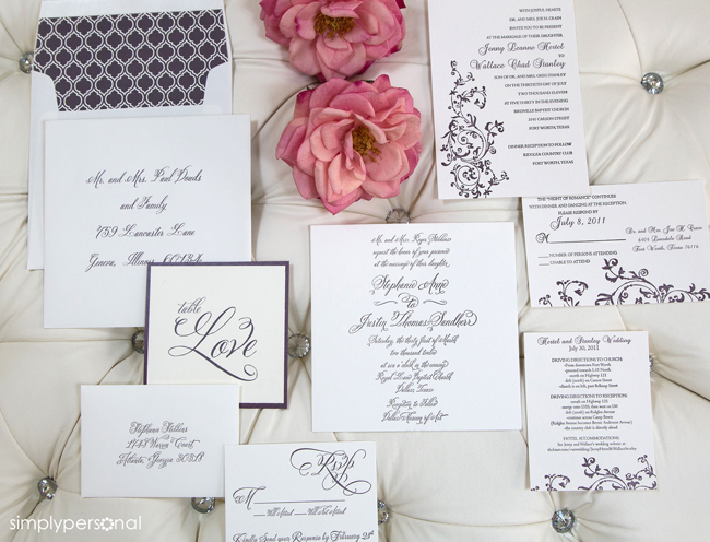 Custom & Semi-Custom Wedding Paperie; Coordinated Wedding Invitation Suite