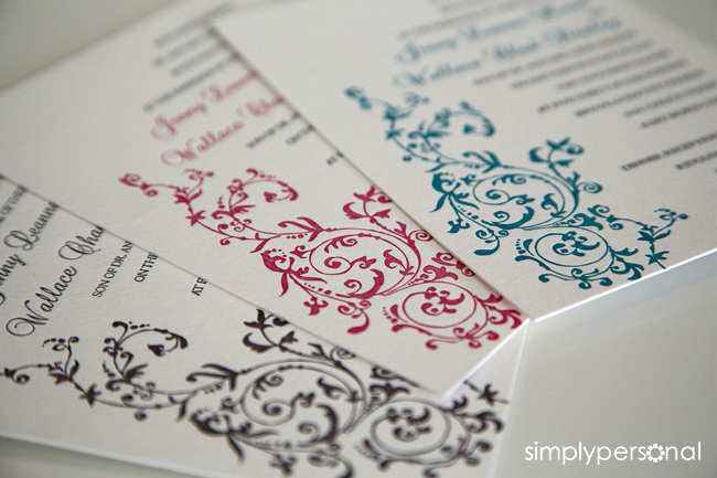 Multiple Colors Same Design Letterpress Wedding Invitation
