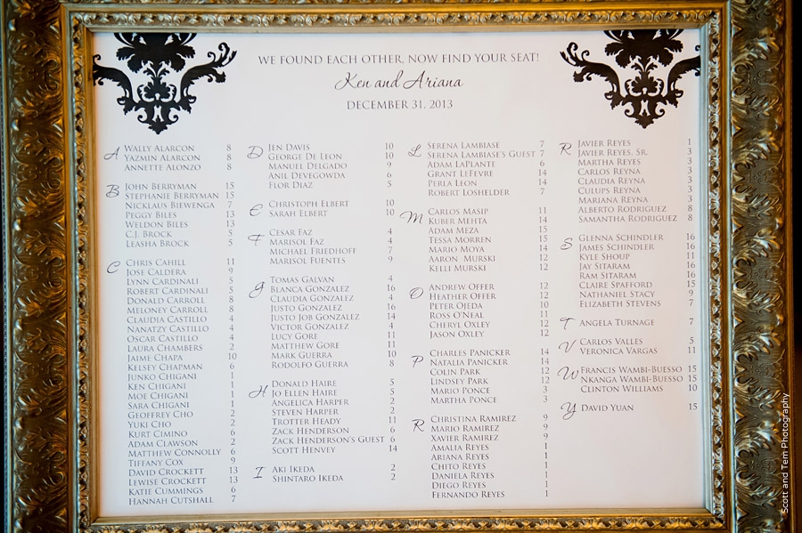 Black and White Wedding Reception Seating Chart