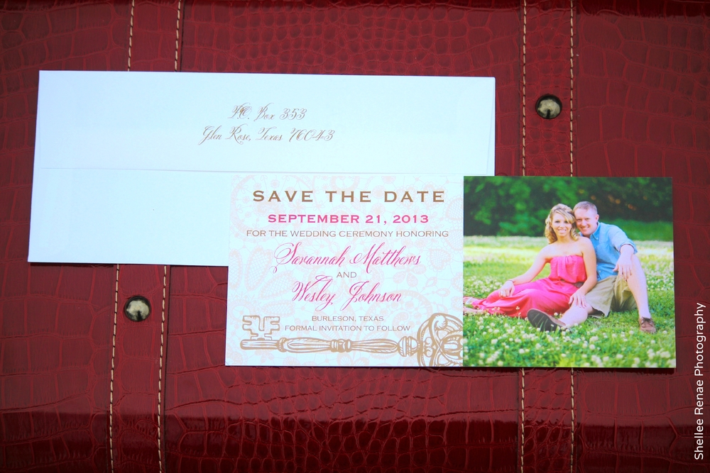 Red and Beige Lace Key photo save-the-date