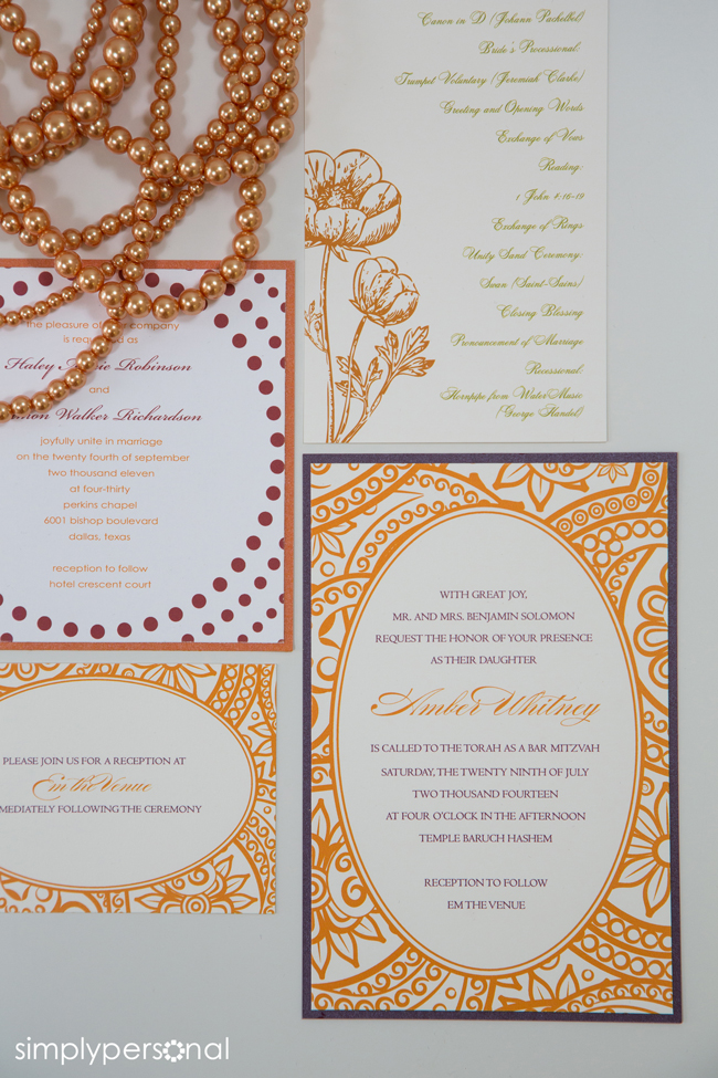 Altar Ego Paperie Orange Red Wedding Invitations