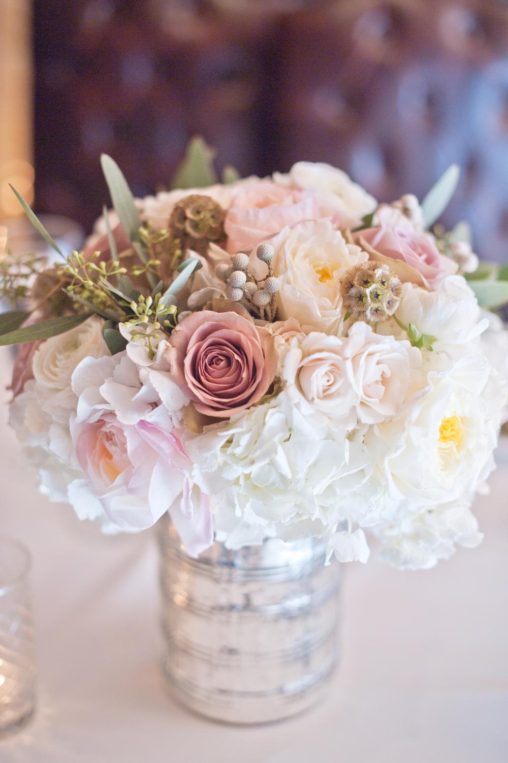 Silver Pink White Scabiosa Wedding Centerpiece